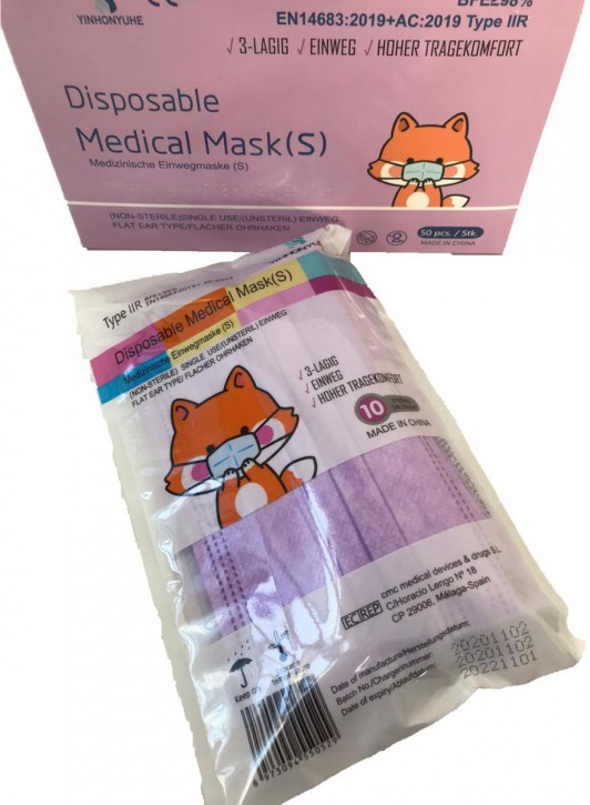 YINHONYUHE ® Disposable Medical Mask(S) Lila 10 Stück im Beutel