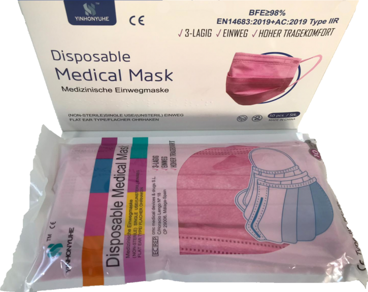 YINHONYUHE ® Disposable Medical Mask Rosa 10 Stück im Beutel